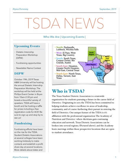 TSDA September Newsletter pg 1