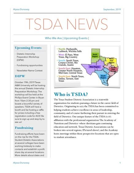 TSDA September Newsletter pg 1